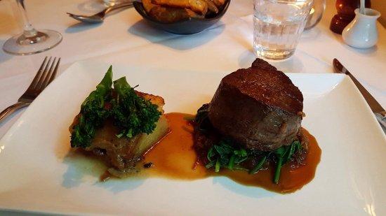 Mercato @ Daylesford: Eye fillet of aged Kyneton Black Angus beef, porcini gratin, spinach,caramelised onion, brocolin