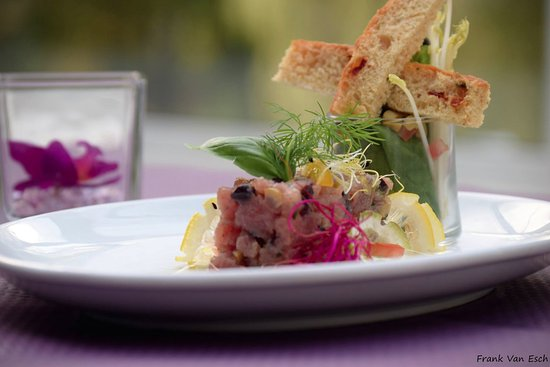 """La Roche-en-Ardenne, Βέλγιο: Tartare de thon rouge, menu de saison (été 2016) - au restaurant """"Le Parc"""""""