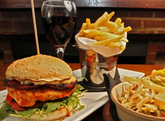 The Mulberry: One of our favourites, chicken burger, fries and homemade slaw