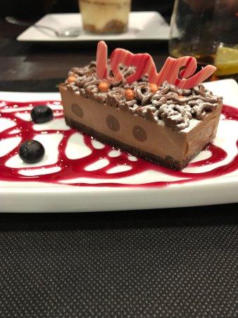 Виладеканс, Испания: Súper postre de Sant Valentín!!  Chocolate y cacahuetes riquísimo!!!!