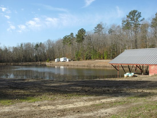 Petersburg, VA: Fish pond with boat house.
