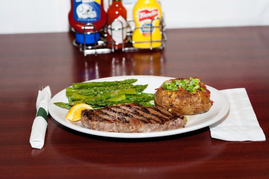 Lafayette, IN: NY Strip with asparagus and loaded baked potato
