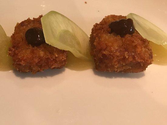 Heswall, UK: Crispy pork shoulder with Armagnac, prune and apple