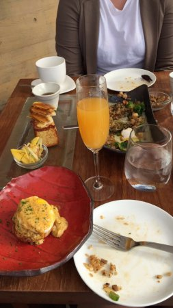 Nobu Malibu: Excellent brunch featuring the crab cake eggs benedict, the kaya toast, and the beef fried rice