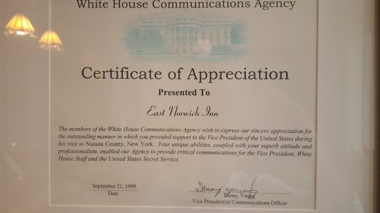 East Norwich, Estado de Nueva York: Appreciation Certificate