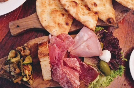Joya Restaurant: Antipasto platter for 2 (my daughter had already tucked in to several items before I shot this!)
