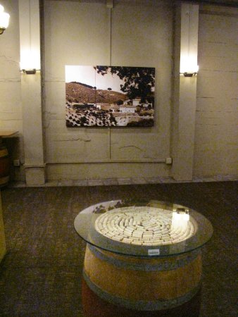 Testarossa Winery - Los Gatos - Tasting room wine cork table and historic photos