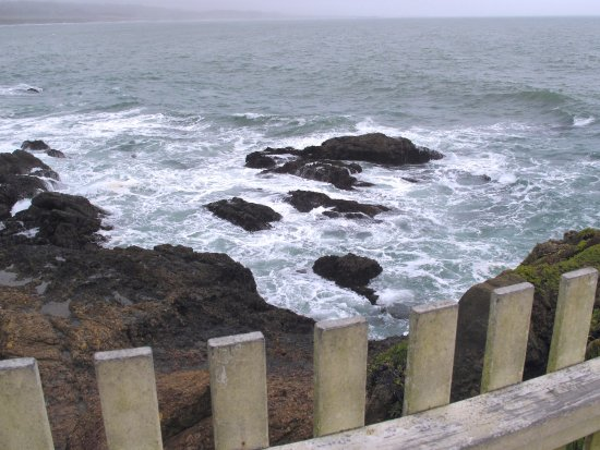 Pescadero, CA: Pigeon Point Lighthouse - View over fench on pathway
