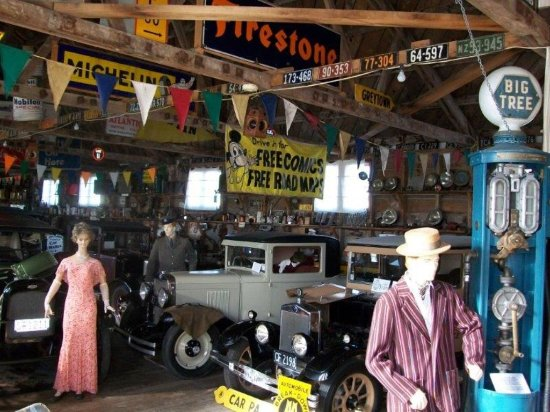 The Pointon Collection: over-all view as you enter the main museum building - showing original cars & clothing