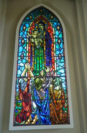 Hallgrimskirkja Stained Glass Window With Virgin Mary And Baby Jesus