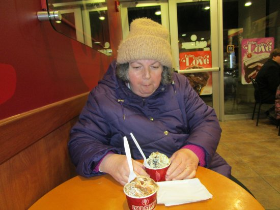 Cranston, RI: That is me eating my ice cream at Cold Stone Creamery.