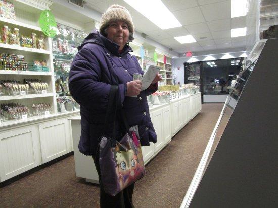 Cranston, RI: That is me inside Sweenor's Chocolates.
