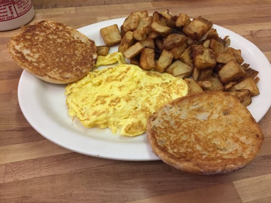 North Billerica, MA: 1 scramble egg, home fries and a grilled english