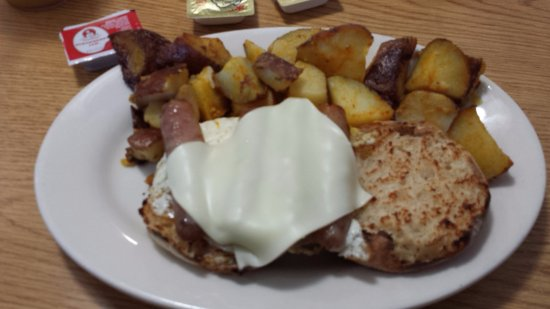Saugus, MA: Egg, sausage and cheese muffin with potatoes.