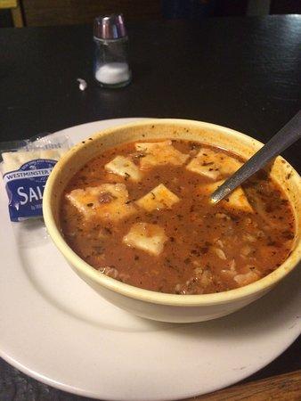 Port Penn, DE: Sausage and Clam soup - bowl, $6.  Tasty