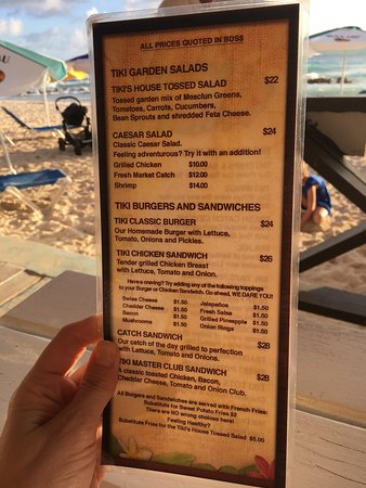 The Tiki Bar: Panorama of view from the bar. Menu - may have been a lunch menu as when we were leaving a group