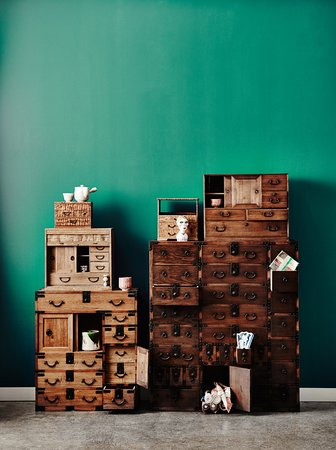 Prahran, Australia: Japanese furniture epitomizes form function & style. Pictured, Vintage and Antique boxes and che