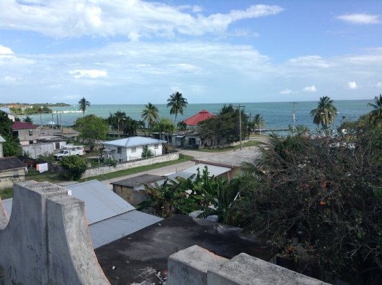 Corozal, Belize: The roof has one of the highest viewpoints in town and there's good swimming at the dock.