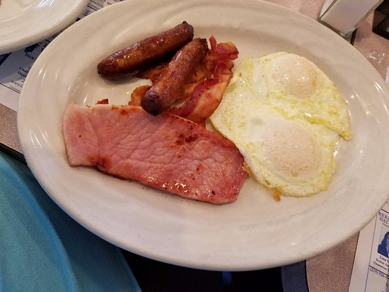 Chesterton, IN: Eggs over medium with ham, sausage and bacon