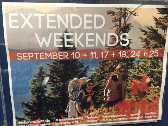 September weekend specials, Mount Washington Alpine Resort , 1 Strathcona Pkwy, Mount Washington