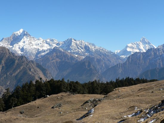 Chamoli District, Indie: Nanda Devi from Gursoan bugyal.