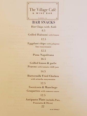 Flinders, Australia: Brand new tapas / bar food menu all cooked to order