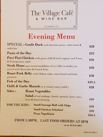 Flinders, Australia: new evening menu - check out the confit duck !