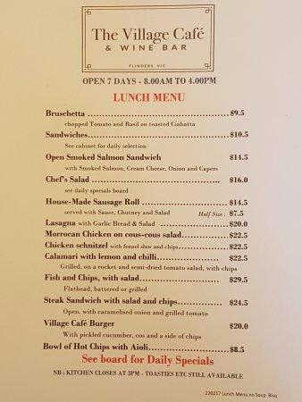 Flinders, Australia: new menu from late February