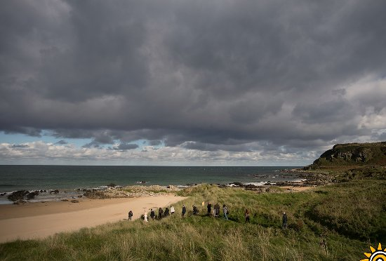 McGrory's Hotel: a photography group at the mini cove at Culdaff