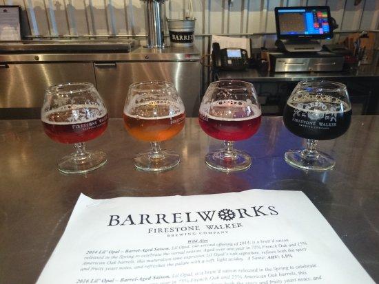Barrelworks at Firestone Walker Brewery: Flight of 4 beers at Barrelworks, Firestone Walker