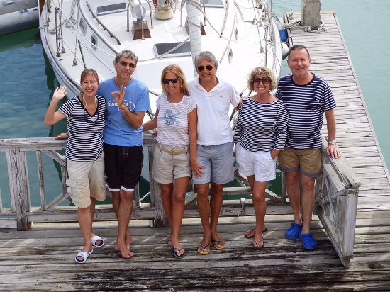 Jolly Harbour, Antigua: This is the sailing day, we with our friends and with the sailing team
