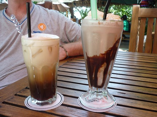 Tree Monkey: Chocolate milkshake and iced coffee
