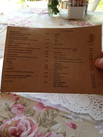 African Shades B&B : One side of drinks menu