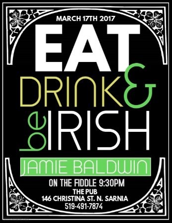 The Pub: St PADDY'S . Jamie Baldwin on the fiddle!