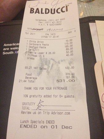Balducci's: Our bill