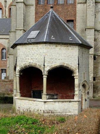 Grote Kerk: Het achthoekige tudor-straalgewelf met de waterput
