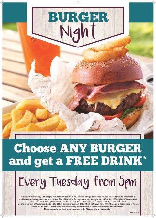Marchwiel, UK: Free drink with a burger every Tuesday