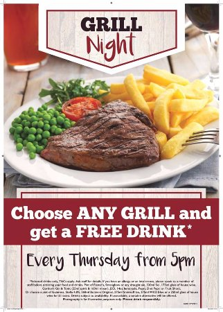 Marchwiel, UK: Free drink with any grill order every Thursday