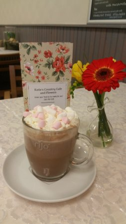 Katie's Country Cafe and Flowers: Hot chocolate, marshmellows and cream