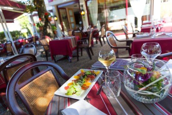 Auberge de la Terrasse Restaurant: La terrasse à l'ombre du tilleul  centenaire....
