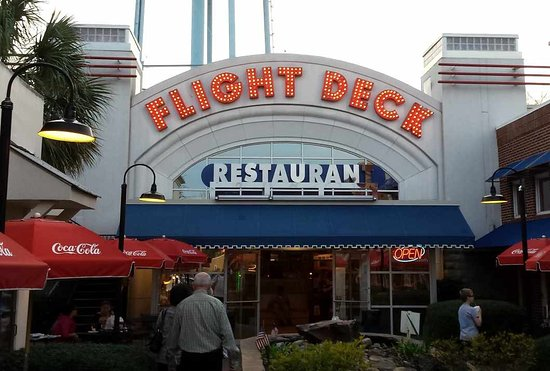 Flight Deck Restaurant & Bakery: Flight Deck Entrance at Dusk