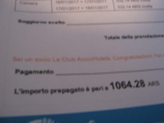 Ibis Buenos Aires Congreso: photo of my receipt