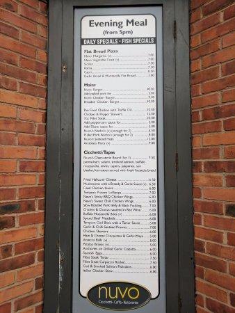 Nuvo: Evening meal menu
