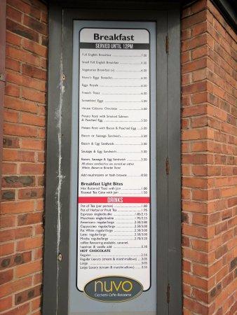 Poulton Le Fylde, UK : Breakfast menu
