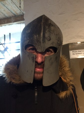 Ypres Tower Museum: trying on the armour!