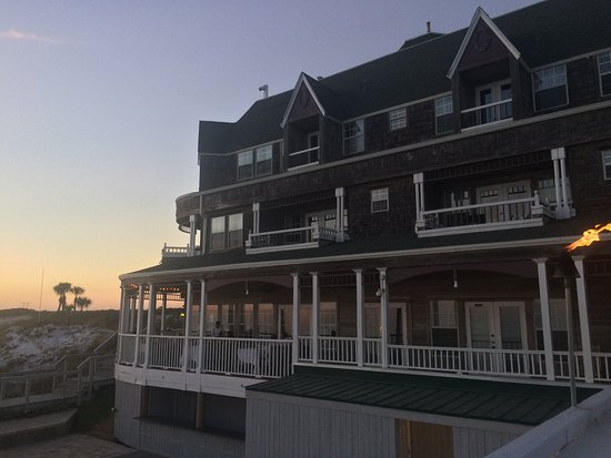 Beach Walk at Henderson Park Inn: the restaurant at the bottom and the hotel on top