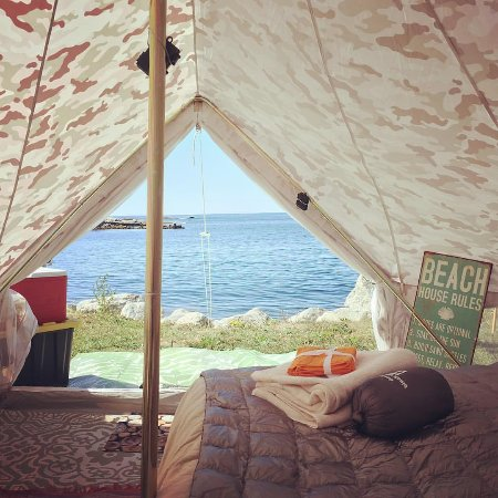 Nova Scotia South Shore, Canada: A View from an East Coast Glamping canvas bell tent overlooking the Atlantica near Peggy's Cove