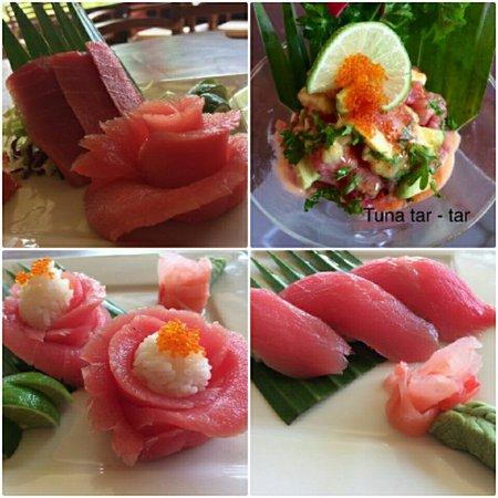 Oishii Bar & Grill Lembongan: tuna sashimi, tuna tar tar, tuna nigiri sushi, rose tuna nigiri.