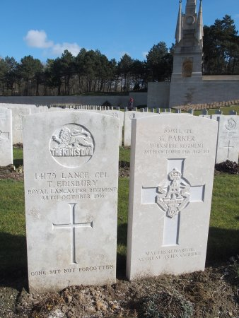 Etaples Military Cemetery: A son of York lies side by side with a son of Lancaster - both of them early victims of the Somm