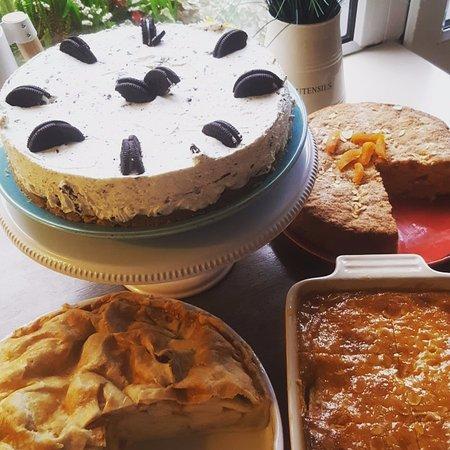 Apple Pie, Apricot & Almond cake (gf), Oreo Cheesecake(cheesecake of the week) Pear Frangipane (